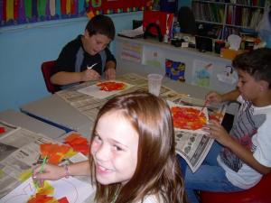 Zac, Nicholas, and Lilly still working hard.