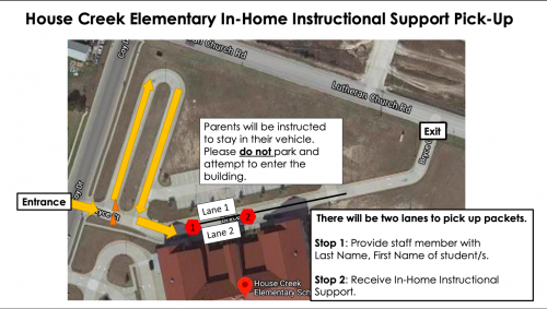 A Map of House Creek Elementary Packet pick up.