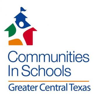 Communities in School - Greater Central Texas Logo featuring a  Student's silhouette over a multi-colored school building