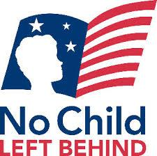 No Child Left Behind Logo - Child's silhouette over an american flag.