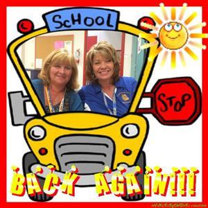Image of Jennifer Leary and Debbie Payne in a Clip art School Bus with the label  Back Again.
