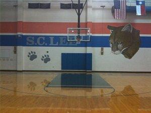 Basket Ball Goal in S.C. Lee Junior High Gymnasium