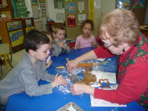 Baking gingerbread cookies with Mrs. Cubit