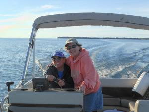 My mom and me on the lake