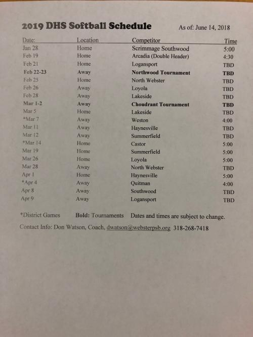 2018-2019 Softball Schedule