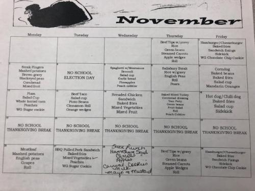 November Cafeteria Menu