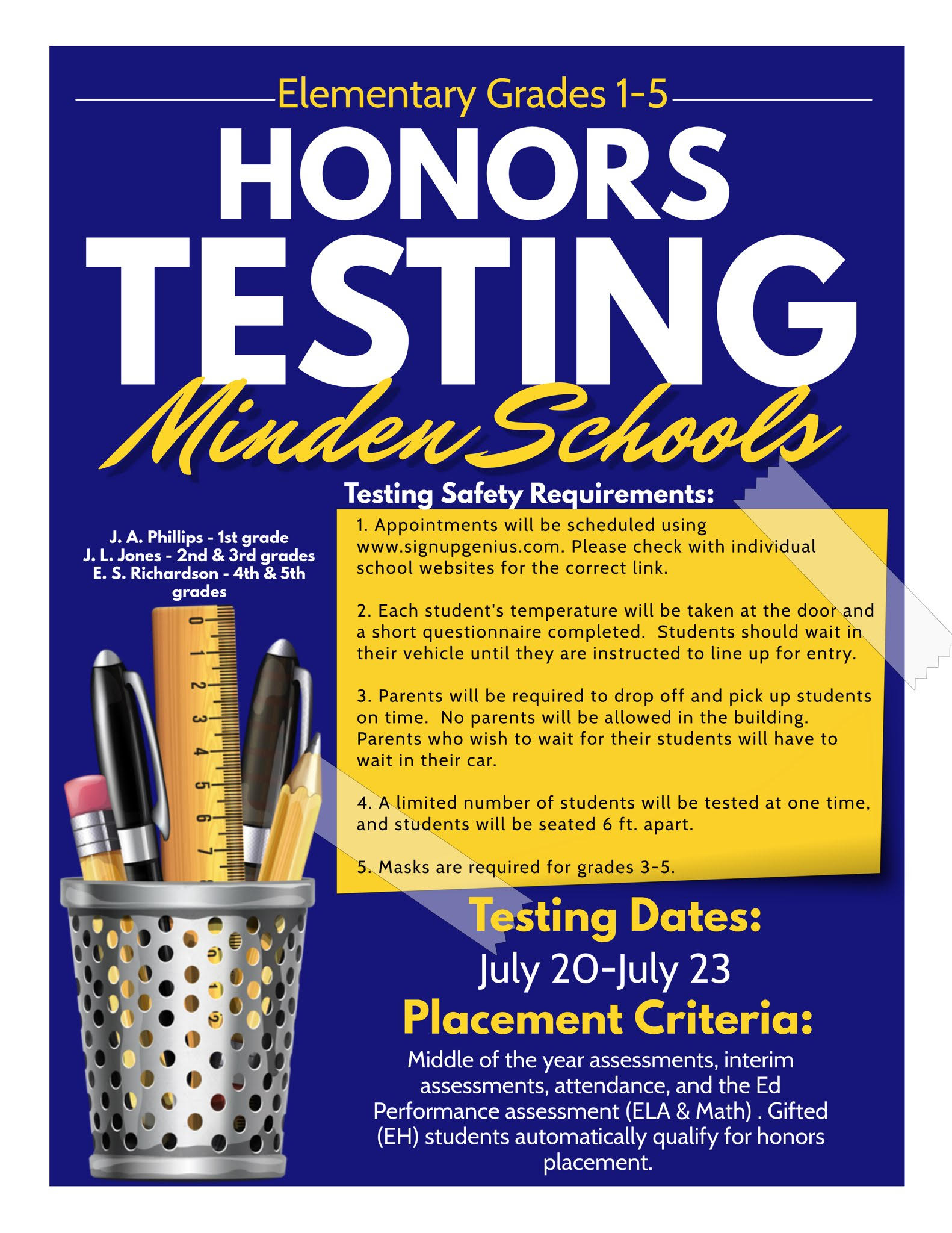 Honors Placement Testing