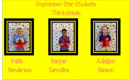 Pictures of the three star students in third grade