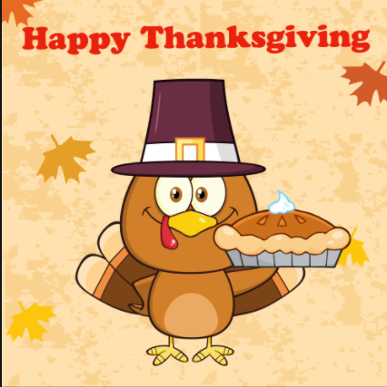 Happy Thanksgiving turkey holding a pie