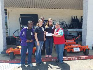 North Webster High School Ag Department received a grant last year through Tractor Supply. A group of students traveled to Minden to receive the grant. The students pictured are LeeMason Bruton, Lorenzo Jones, and Ashley Morgan.
