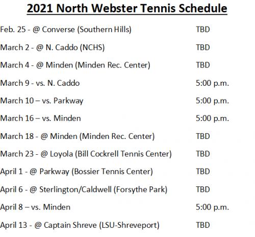 Tennis schedule all text
