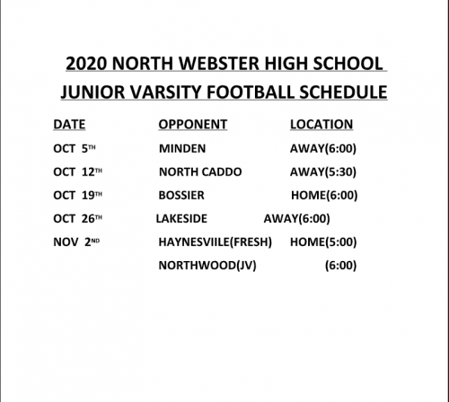 JV Football Schedule