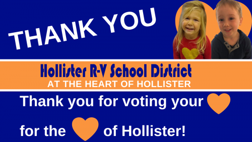 Thank you for voting your heart for the heart of Hollister