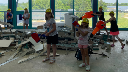kids helping with construction