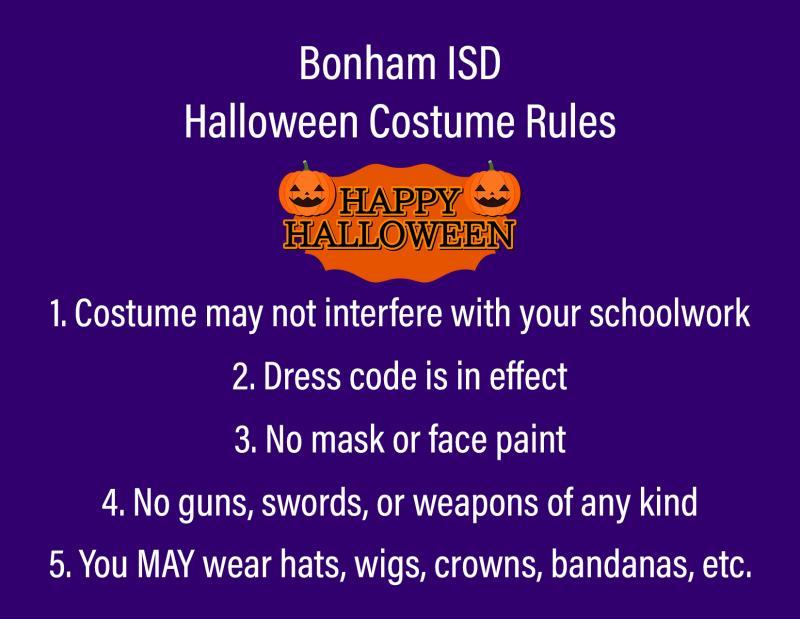 Bonham ISD Halloween Costume Rules