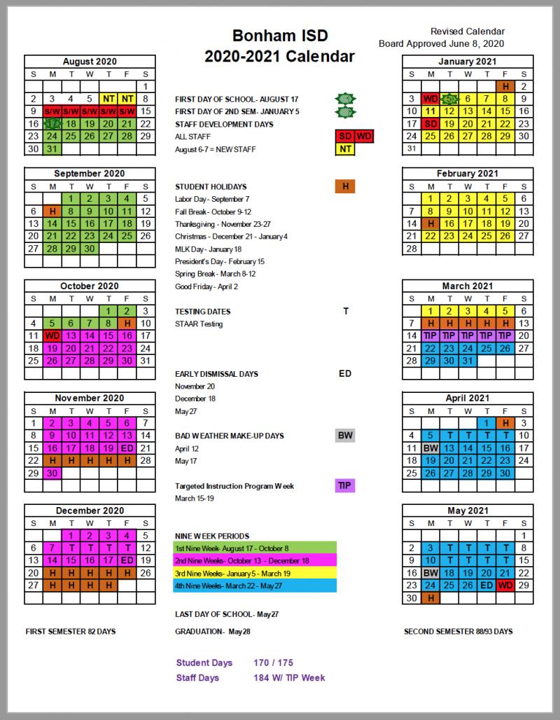 BISD 2020-2021 School Calendar Update