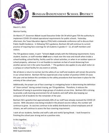 Letter Regarding Executive Order GA-34 and TEA's Public Health Guidance for Schools