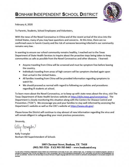 Novel Coronavirus Letter from Superintendent (Feb 2020)