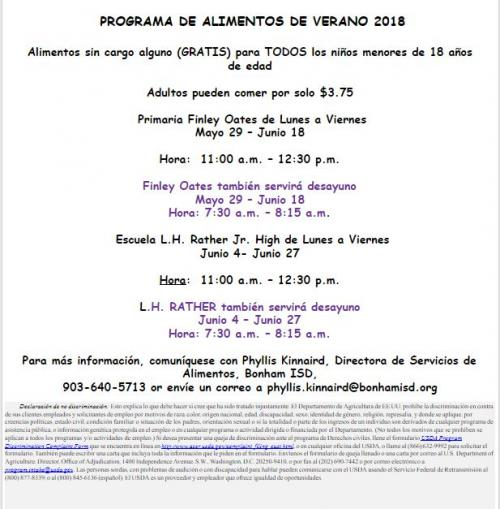 2018 SUMMER MEAL PROGRAM  Meals FREE to ALL kids age 18 and younger (Spanish)