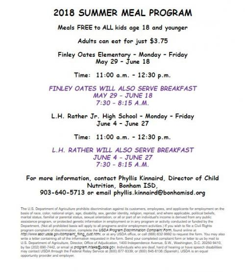2018 SUMMER MEAL PROGRAM  Meals FREE to ALL kids age 18 and younger