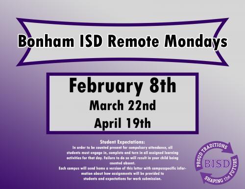 Bonham ISD Remote Mondays