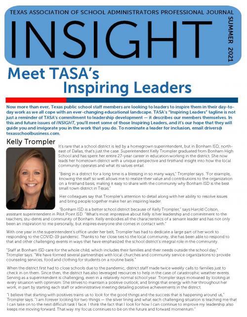 Kelly Trompler TASA Inspring Leader Article