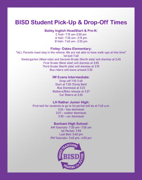 BISD Student Pick-Up & Drop-Off Times