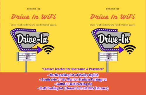 Bonham ISD Drive-In WIFI Information & Locations