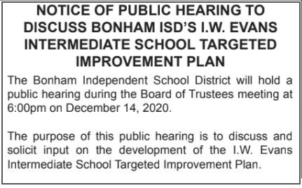 Public Hearing to Discuss Bonham ISD's I.W. Evans Intermediate School Targeted Improvement Plan