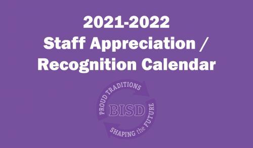 Staff Appreciation / Recognition Calendar