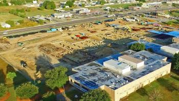 Aerial views of the progress on the new Bonham High School
