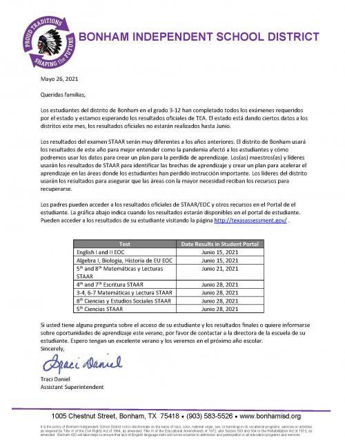 BISD Parent Letter: STAAR Scores (Spanish)