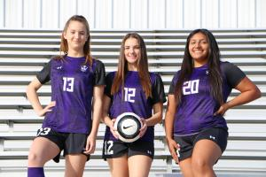 Lady Warrior Soccer Seniors with Warrior Head Watermark