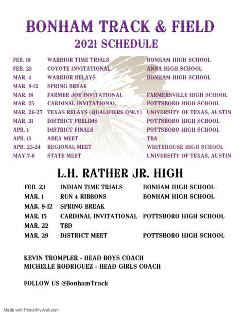 2021 Track Schedule