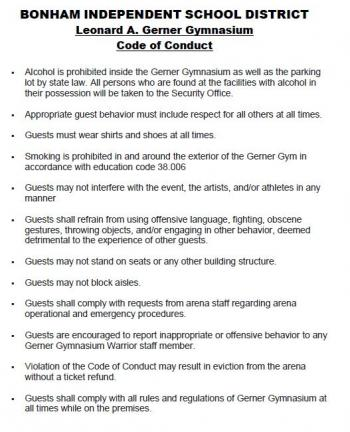 BHS Gym Code of Conduct