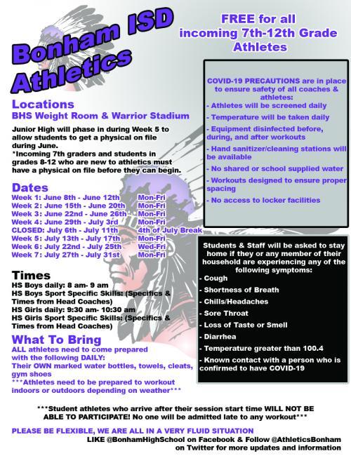 BISD 2020 Summer Workout Schedule