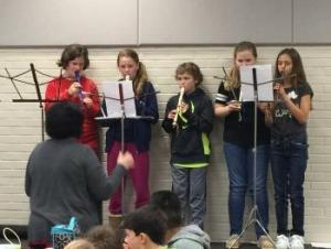 Playing a Christmas song on Recorders