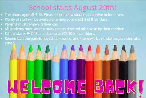 School starts August 20th!