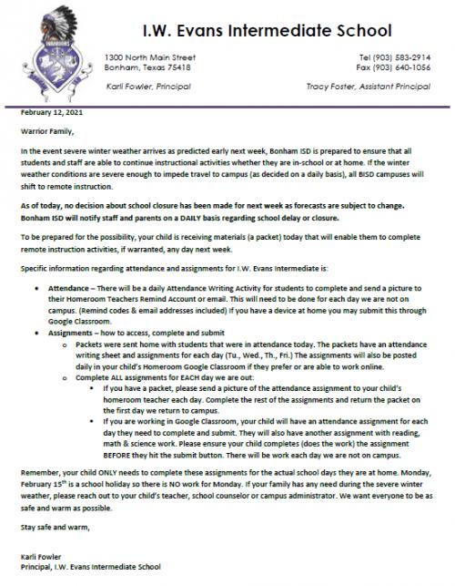 #IWEvan Letter from Principal: February 12, 2021
