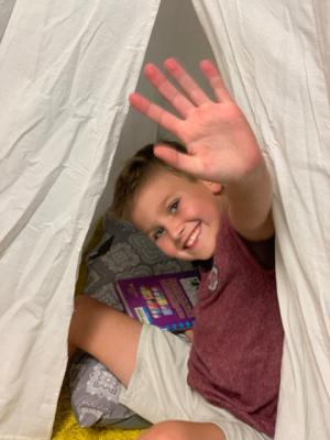 Jack hiding out in the tent