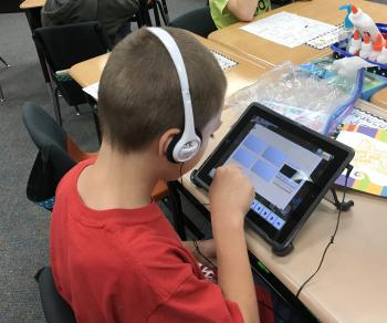 Student using Chromebook