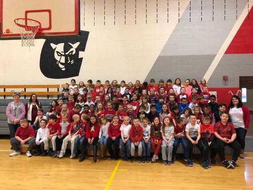 Students in red and white