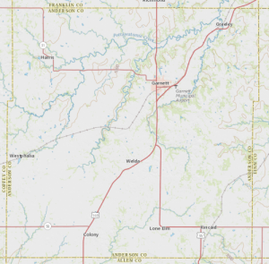 Anderson County topographic map.