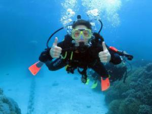 Scuba diving at the Great Barrier Reef in Australia.