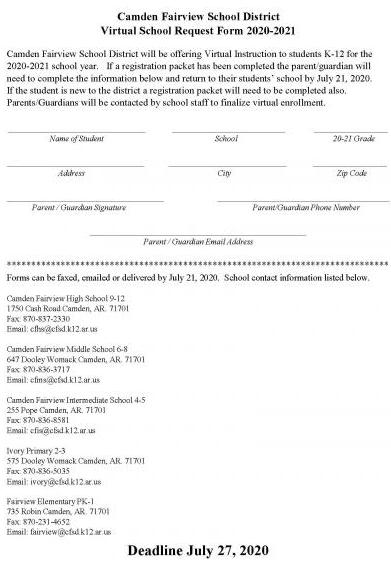 Virtual School Request Form2020-21