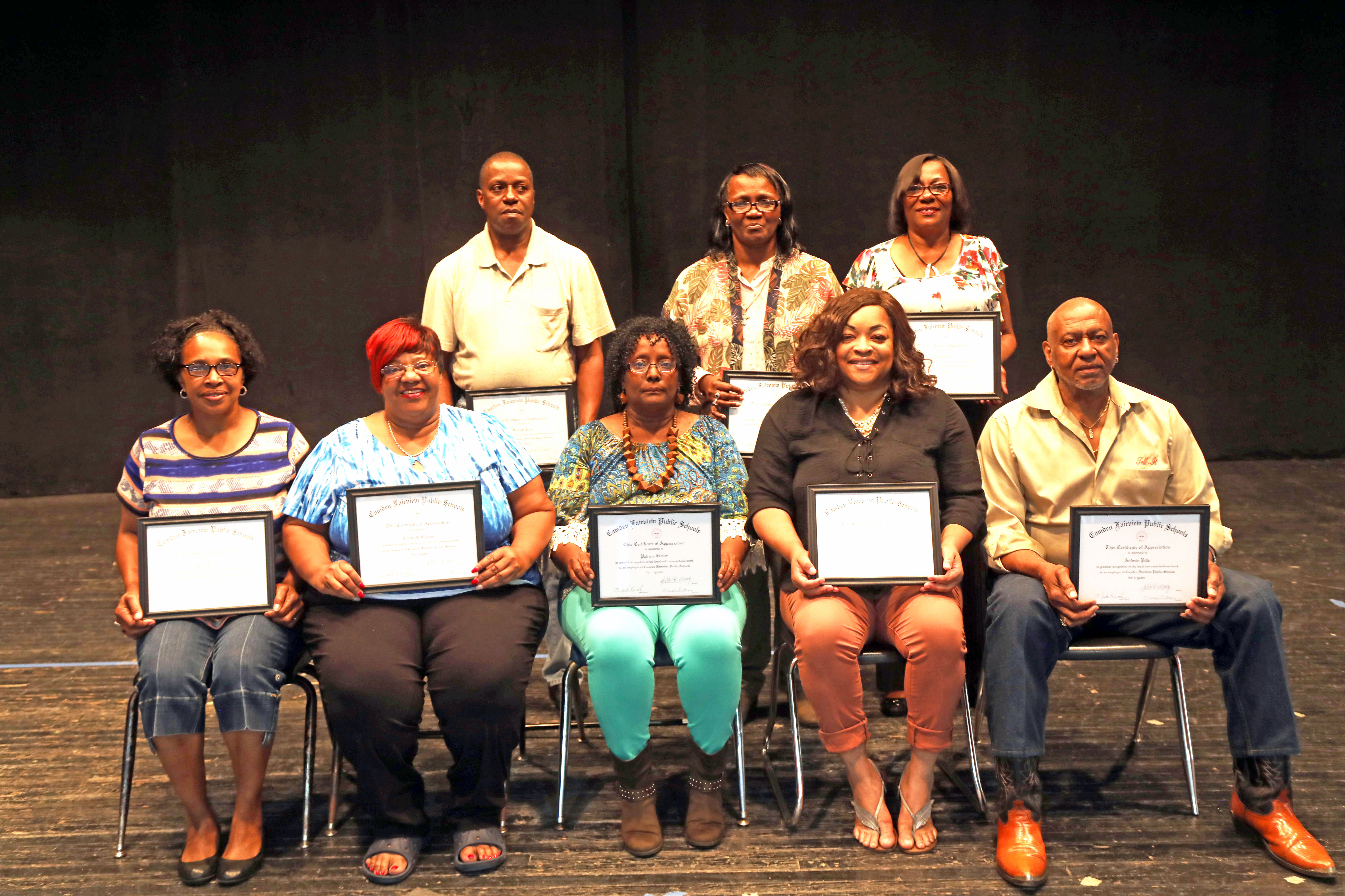 5 Year Classified: Front Row L to R: Pam Fields, Charlotte Gibson, Paticia Glover, Carrolo Jackson, Andrew Ptts  Back Row L to R: Kenneth Ross, Angela Rogers, Patricia Todd
