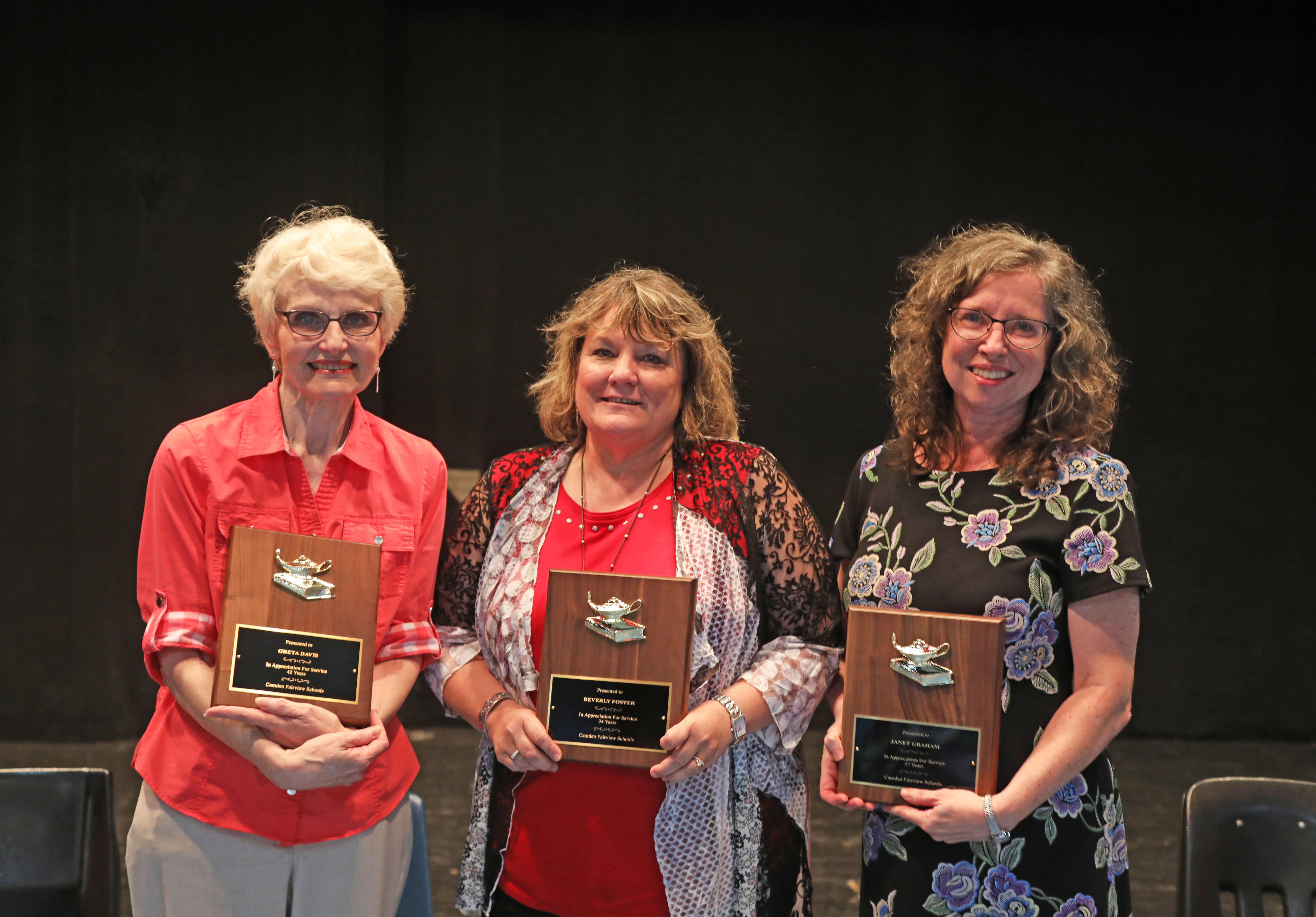 2019 Retirees: Greta Davis, Beverly Foster, Janet Graham