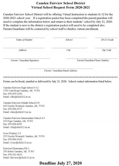 Virtual School Request Form2020-21