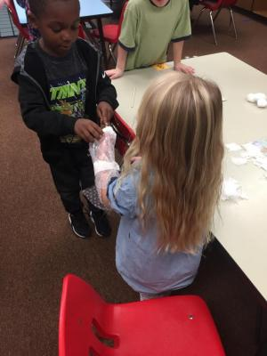 Making casts as our project to explore the human body.