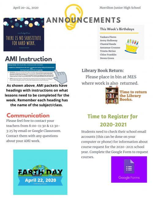 announcements april 20-24